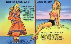 Comic Cartoon - Mother Hubbard Pun; Girls at the Beach Used to Dress Like Mother Hubbard by Lantern Press
