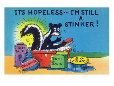 Comic Cartoon - Skunk Bathing; It's Hopeless, I'm Still a Stinker