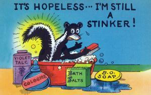 Comic Cartoon - Skunk Bathing; It's Hopeless, I'm Still a Stinker by Lantern Press