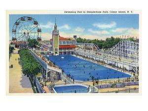 Coney Island, New York - Steeplechase Park Swimming Pool View by Lantern Press