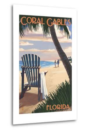 Coral Gables, Florida - Adirondack Chair on the Beach