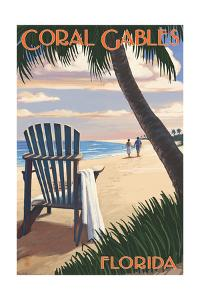 Coral Gables, Florida - Adirondack Chair on the Beach by Lantern Press