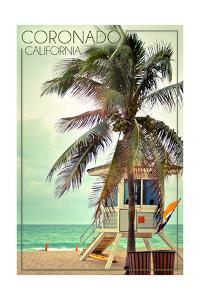 Coronado, California - Lifeguard Shack and Palm by Lantern Press
