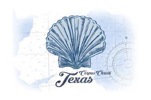 Corpus Christi, Texas - Scallop Shell - Blue - Coastal Icon by Lantern Press
