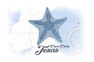 Corpus Christi, Texas - Starfish - Blue - Coastal Icon by Lantern Press