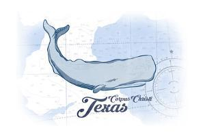 Corpus Christi, Texas - Whale - Blue - Coastal Icon by Lantern Press