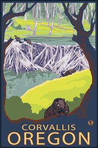 Corvallis, Oregon - Beaver Family by Lantern Press