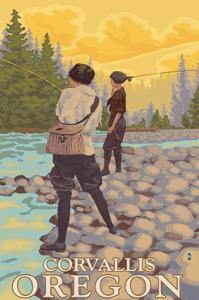 Corvallis, Oregon - Women Fishing by Lantern Press