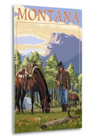 Cowboy and Horse in Spring - Montana