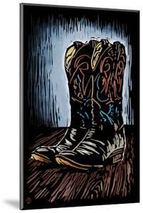 Cowboy Boots - Scratchboard by Lantern Press