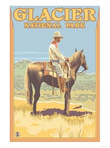 Cowboy on Horseback, Glacier National Park, Montana by Lantern Press