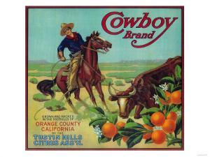 Cowboy Orange Label - Tustin, CA by Lantern Press