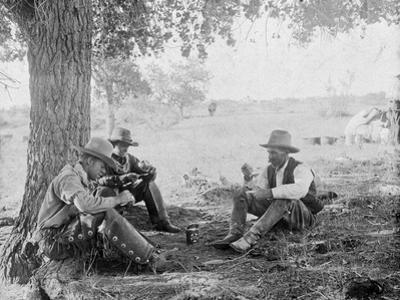 Cowboys Eating Dinner under a Tree Photograph - Texas by Lantern Press