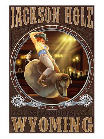 Cowgirl and Mechanical Bull - Jackson Hole, WY by Lantern Press