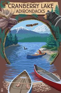Cranberry Lake, New York - Adirondacks Canoe Scene by Lantern Press