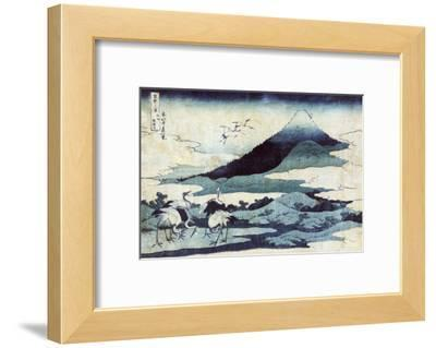 Cranes on the Ground and in Flight with Mount Fuji in the Background, Japanese Wood-Cut Print