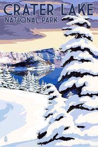 Crater Lake National Park, Oregon - Winter Scene by Lantern Press