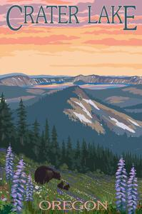 Crater Lake, Oregon - Spring Flowers and Bear Family by Lantern Press