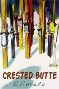 Crested Butte, Colorado - Colorful Skis by Lantern Press