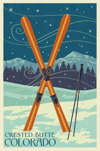 Crested Butte, Colorado - Crossed Skis by Lantern Press
