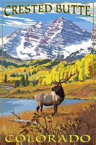 Crested Butte, Colorado - Maroon Bells and Elk by Lantern Press