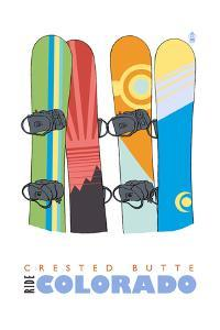 Crested Butte, Colorado - Snowboards in Snow by Lantern Press