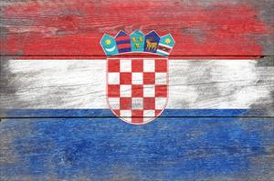 Croatia Country Flag - Barnwood Painting by Lantern Press