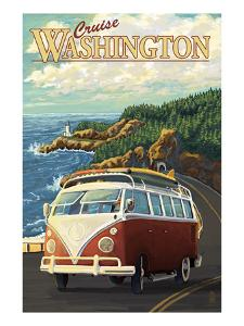 Cruise Washington - VW Van by Lantern Press