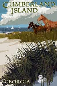 Cumberland Island, Georgia - Horses and Dunes with Boats by Lantern Press