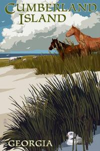 Cumberland Island, Georgia - Horses and Dunes by Lantern Press