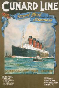 Cundard Line - Royal Mail Steamers - Vintage Poster by Lantern Press