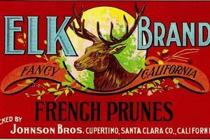 Cupertino, California, Elk Brand French Prunes Label by Lantern Press