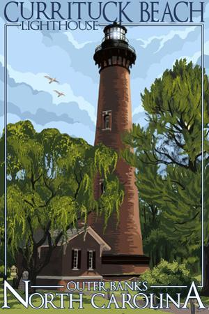 Currituck Beach Lighthouse Day Scene - Outer Banks, North Carolina by Lantern Press
