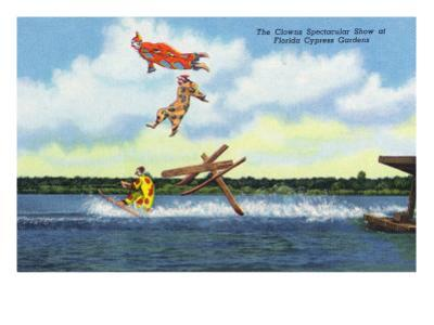 Cypress Gardens, Florida - View of Clowns Waterskiing
