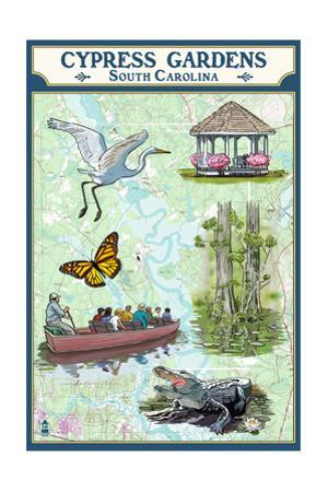 Cypress Gardens, South Carolina - Nautical Chart by Lantern Press