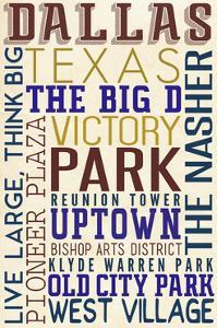 Dallas, Texas - Typography by Lantern Press