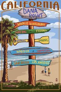 Dana Point, California - Destination Sign by Lantern Press