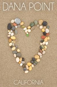 Dana Point, California - Stone Heart on Sand by Lantern Press