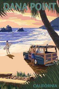 Dana Point, California - Woody on Beach (Palm Tree Version) by Lantern Press