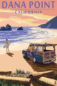 Dana Point, California - Woody on Beach by Lantern Press