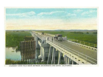 Davis, California - Causeway over Yolo Basin Towards Sacramento