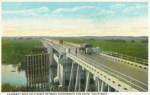 Davis, California - Causeway over Yolo Basin Towards Sacramento by Lantern Press