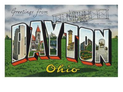 Dayton, Ohio - Large Letter Scenes, Wright Bros. Plane