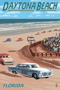 Daytona Beach, FL - Daytona Beach Racing Scene by Lantern Press