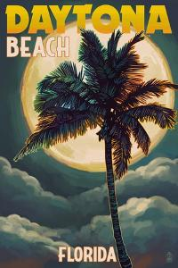 Daytona Beach, Florida - Palms and Moon by Lantern Press