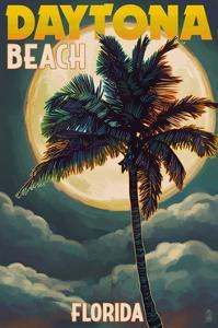 Daytona Beach, Florida - Palms and Moon by Lantern Press