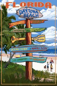 Daytona Beach, Florida - Sign Destinations by Lantern Press