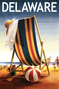 Delaware - Beach Chair and Ball by Lantern Press