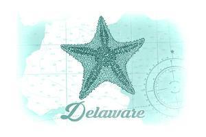 Delaware - Starfish - Teal - Coastal Icon by Lantern Press