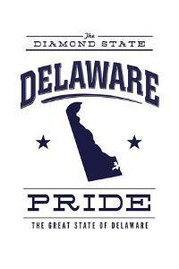 Delaware State Pride - Blue on White by Lantern Press